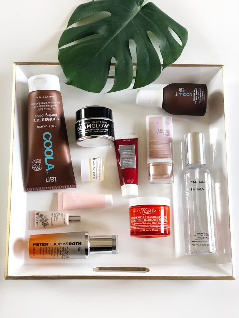 skincare products in a tray