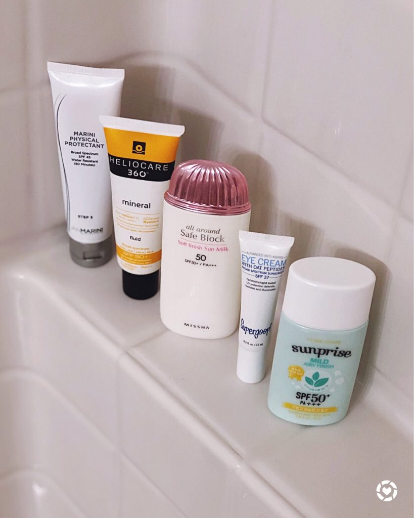 A variety of sunscreens as part of my boyfriend's skincare routine